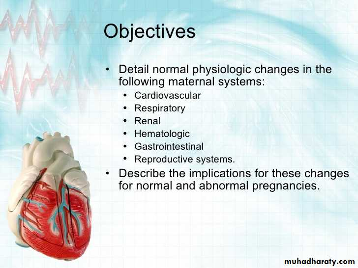 Physiological changes in pregnancy ppt - د  اشراق - Muhadharaty