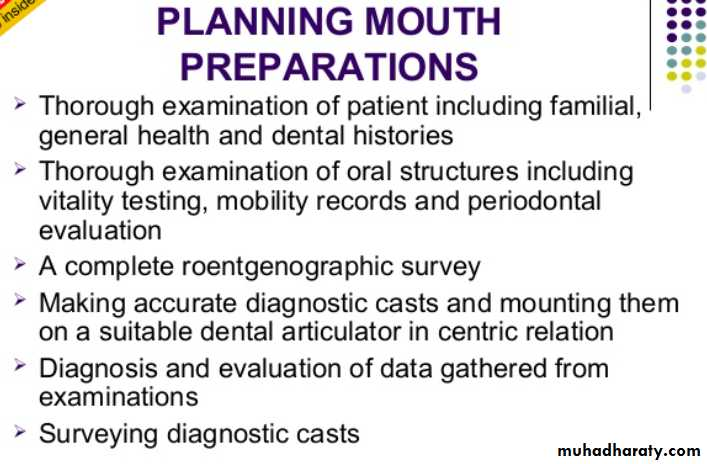 mouth preparation for removable partial denture